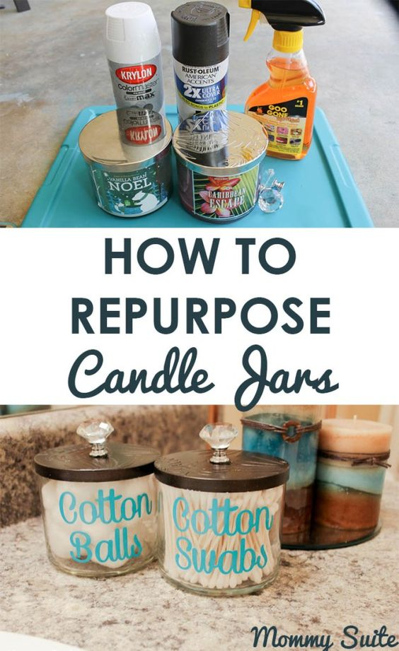 Repurpose Your Old Candle Jars Into Gorgeous Bathroom Organizers.
