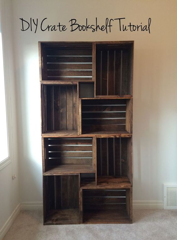 DIY Crate Bookshelf.