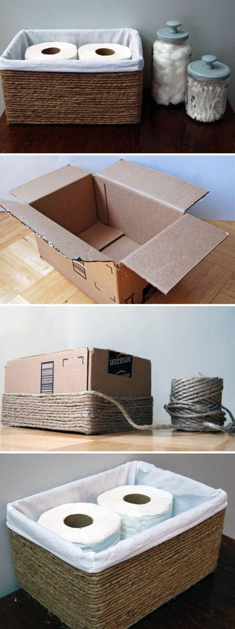 Turn Cardboard Boxes Into Baskets.