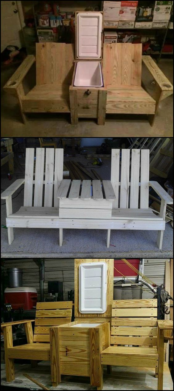 Build a double chair bench with table for your backyard, patio or deck.