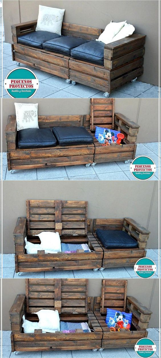 Wood Pallet Outdoor Couch On Wheels With Storage.