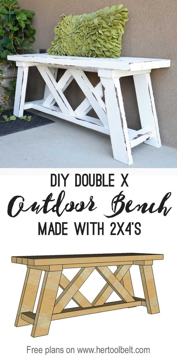 Double X Bench For Outdoor Seating.