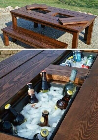 Easy DIY Patio Party Table with Built-in Beer Cooler.