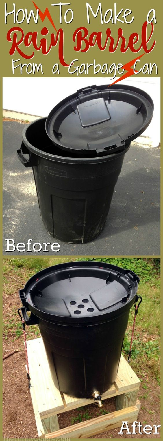 Create an easy DIY rain barrel from a garbage can to water your yard and gardens.
