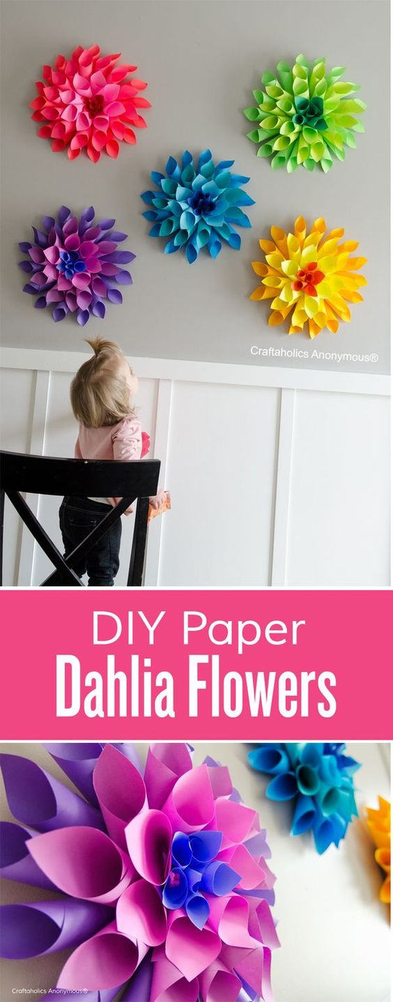 Rainbow Paper Dahlia Flowers.