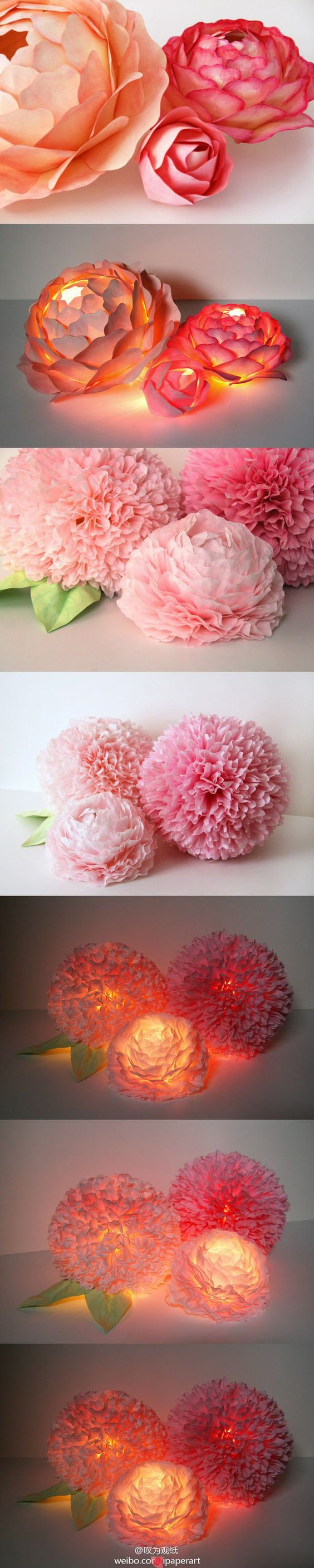 Paper Flower Centerpieces.