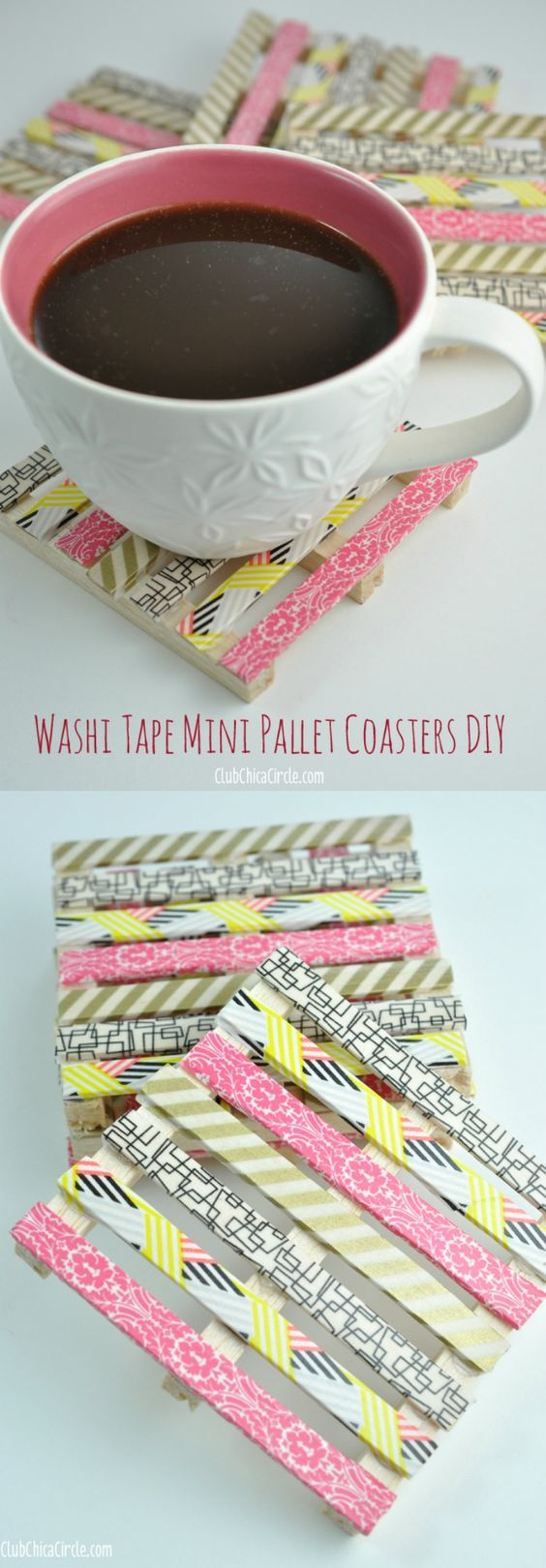 Washi Tape Mini Wood Pallet DIY Coasters.