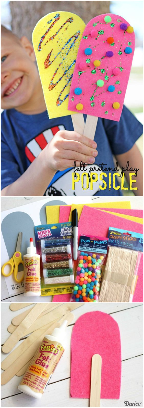 Pretend Play Felt Popsicle Craft.