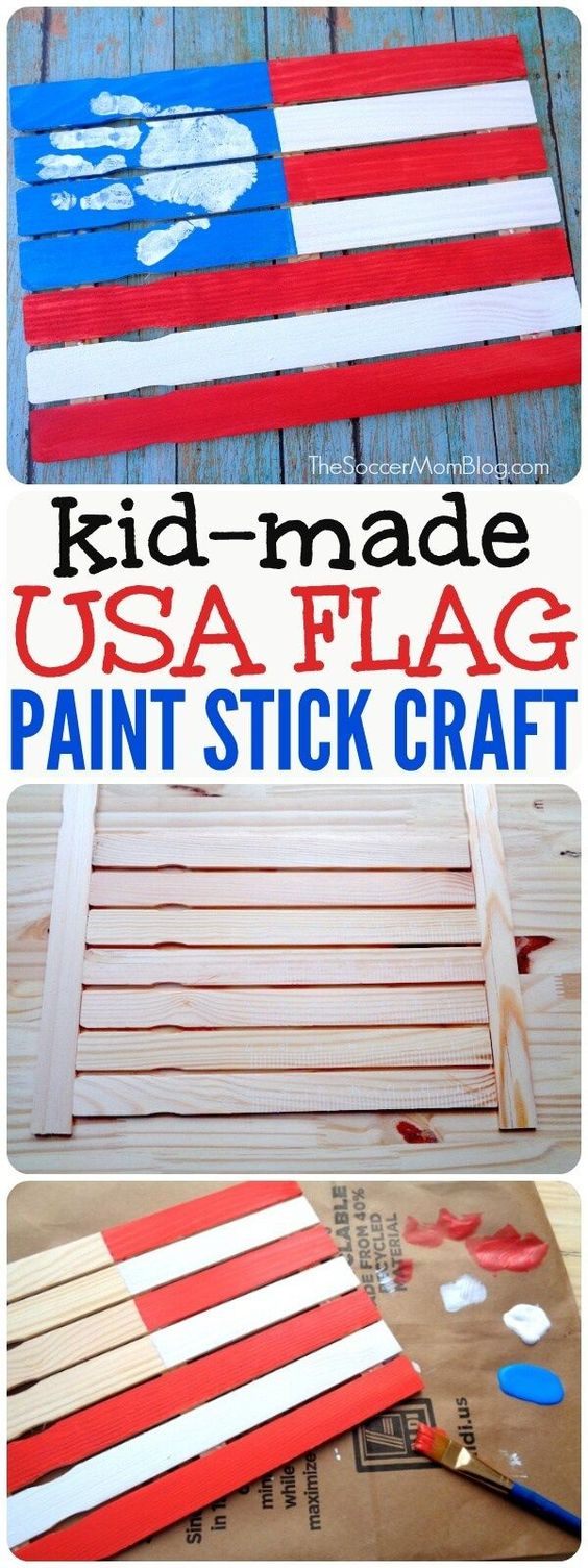 American Flag Kids Paint Stick Craft.