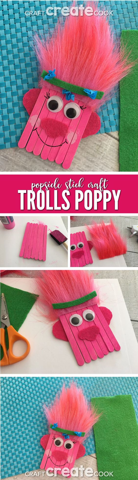 Trolls Poppy Popsicle Stick Craft for Kids.