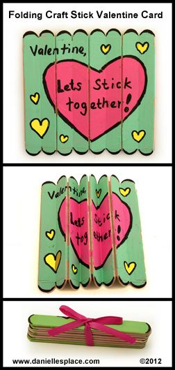 Let's Stick Together Folding Craft Stick Valentine Card.