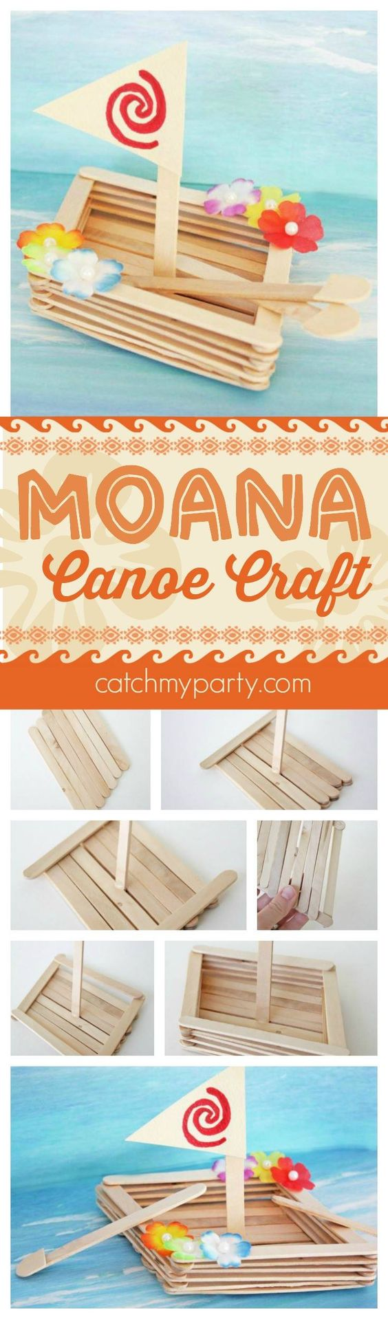 Moana Canoe Craft Made From Popsicle Sticks.