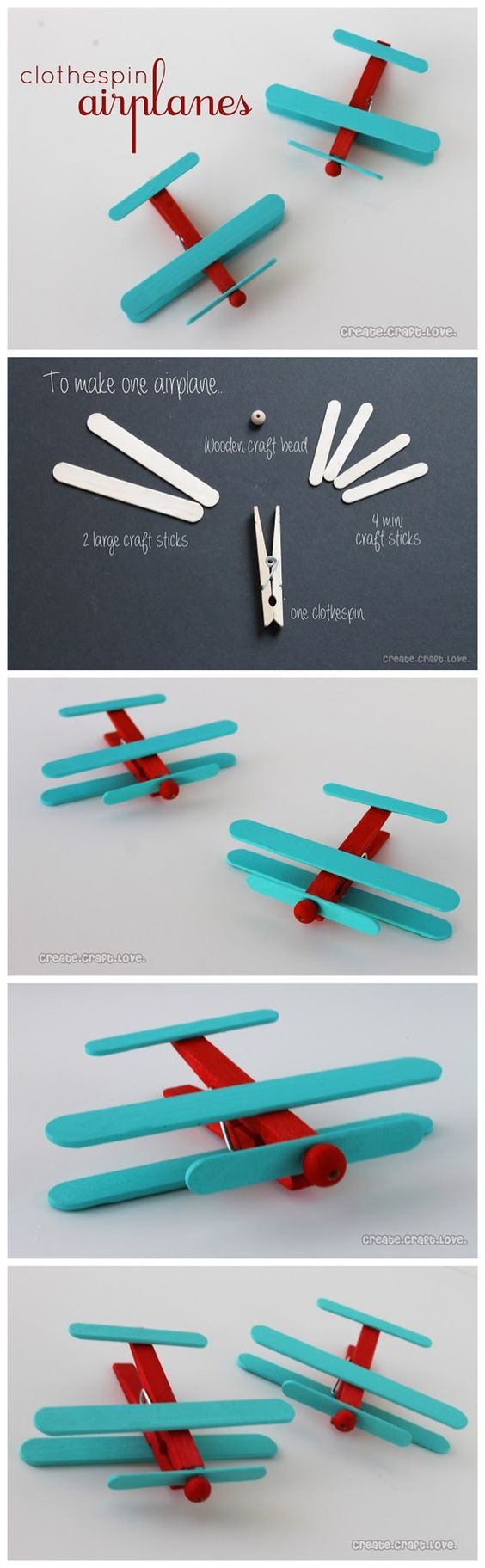 Airplane Crafts Made Out Of Clothespins And Popsicle Sticks.