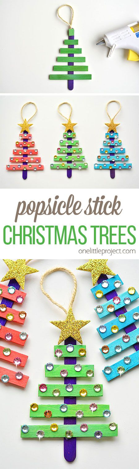 Ornament Craft Ideas For Kids Part - 45: Glittering Popsicle Stick Christmas Trees