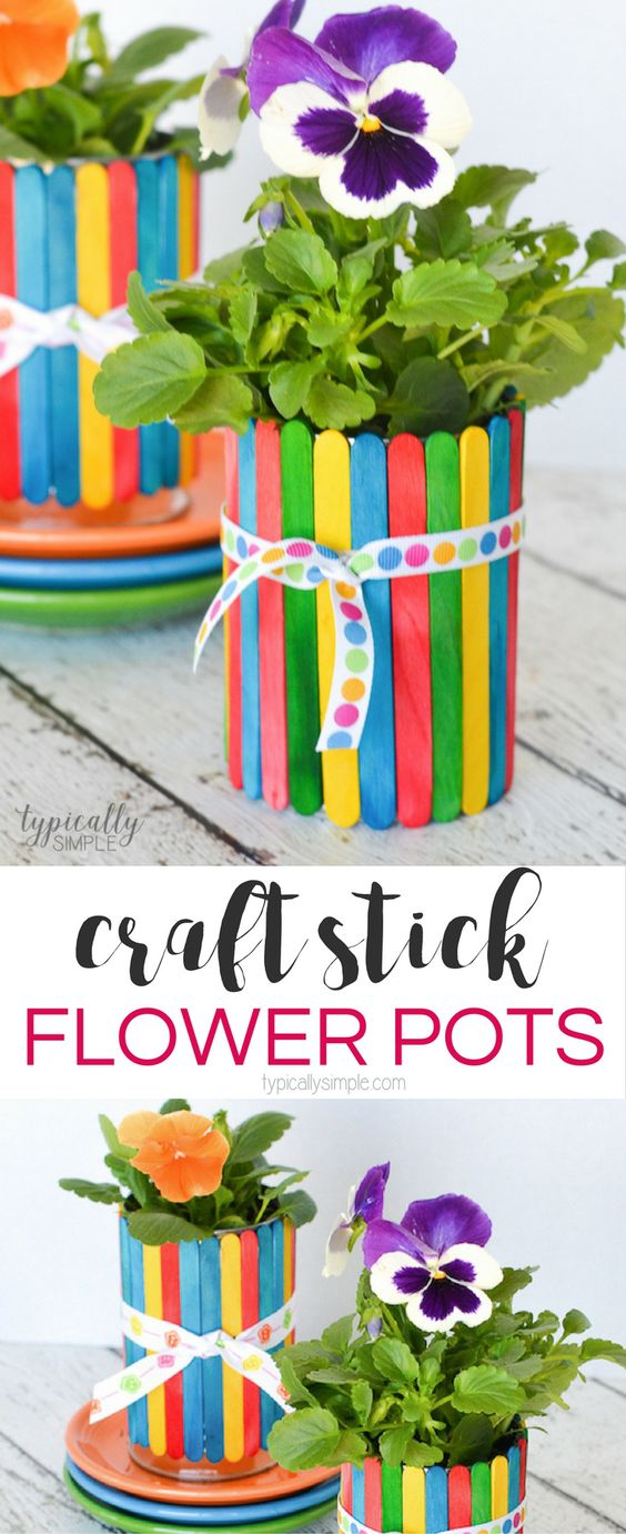 Craft Stick Flower Pots.