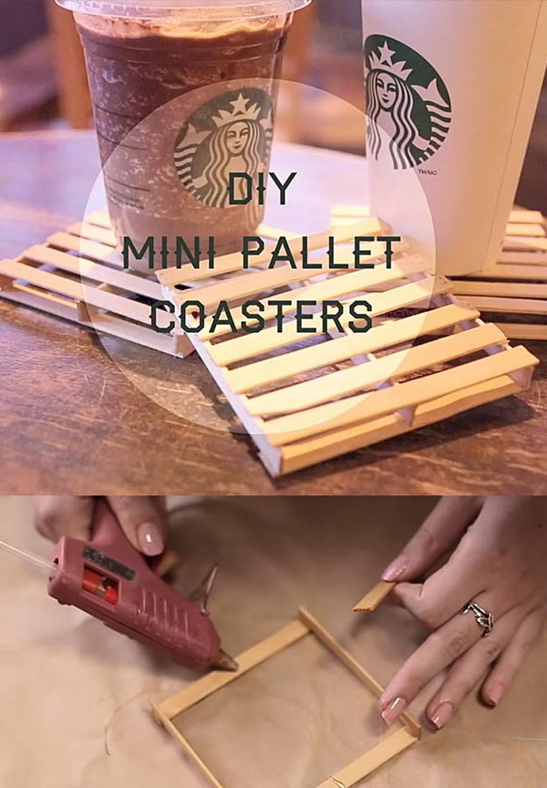 DIY Mini Pallet Coaster Made From Popsicle Sticks.