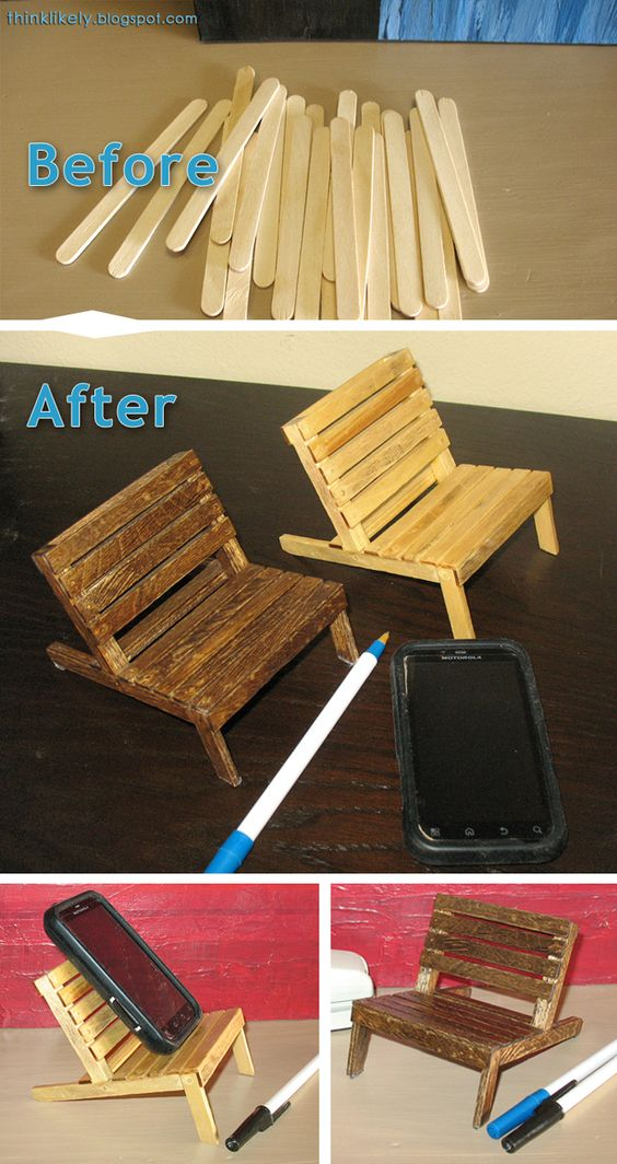 Pallet Chair For Your Cell Phone Made From Popsicle Sticks.