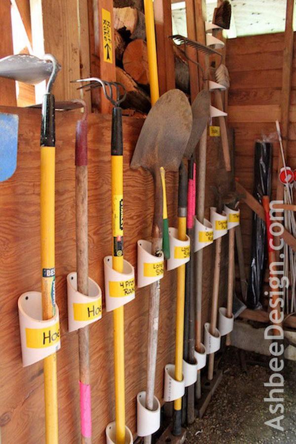 PVC Pipe Garden Tool Organizers.