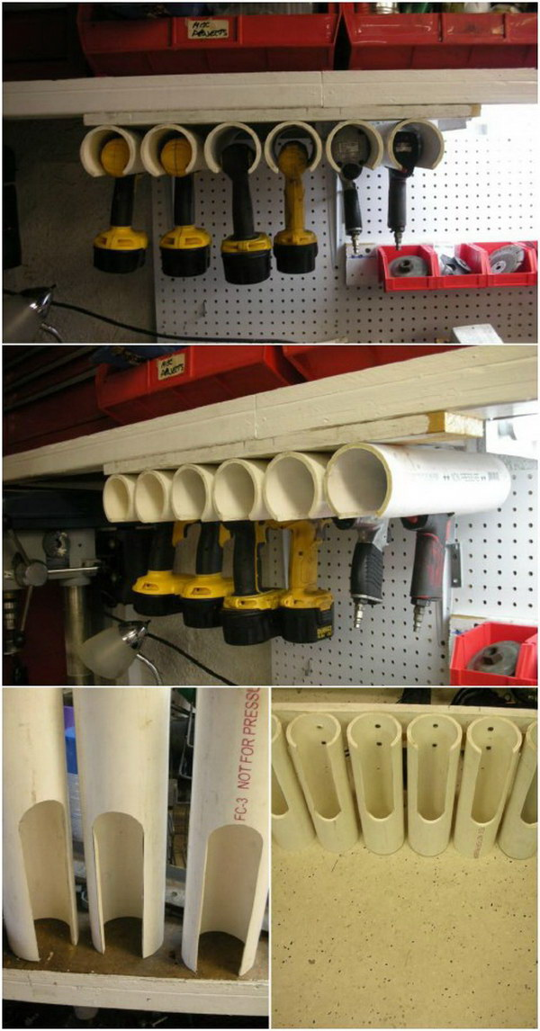 Power Tool Holders with PVC Pipes.