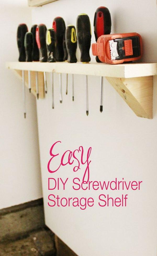 DIY Screwdriver Storage Shelf.
