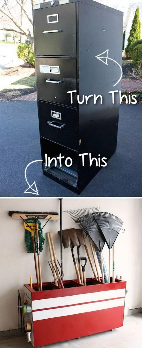 Old File Cabinet into Garage Organizer.