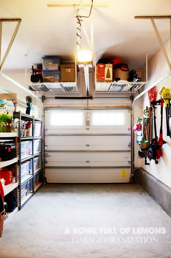 Tuck-up-and-away Shelving in the Garage.