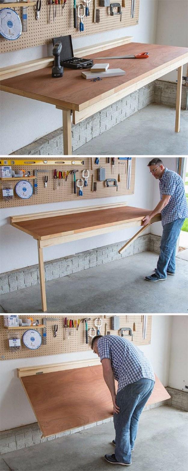 DIY Folding Bench Work Table.