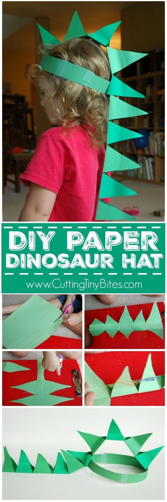 20 homemade dinosaur costumes for halloween diy paper dinosaur hat solutioingenieria Choice Image