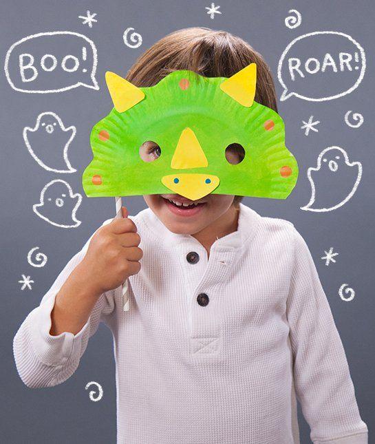 Paper Plate Dinosaur Halloween Mask.