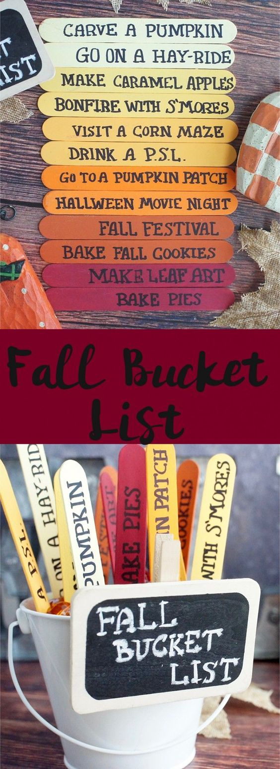 Popsicle Sticks Fall Bucket List.