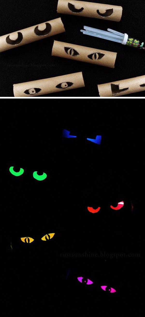 Toilet Paper Roll Glowing Eyes.