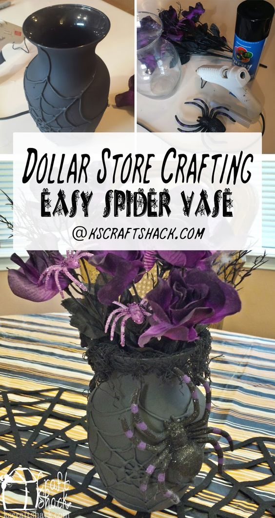 DIY Spider Halloween Vase from Dollar Store Vase.