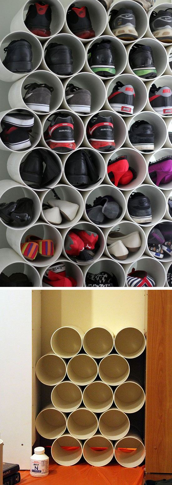 PVC Pipe Shoe Storage.