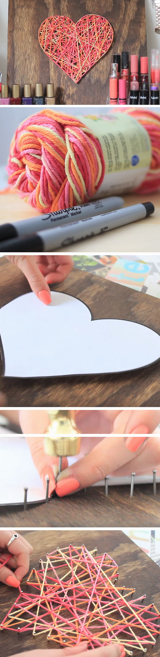 25 romantic diy valentines day crafts for him heart string nail art solutioingenieria Choice Image